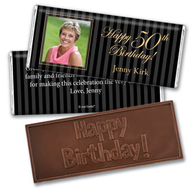 Birthday Personalized Embossed Chocolate Bar Formal Pinstripes Photo