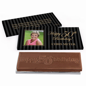 Deluxe Personalized Birthday Formal Pinstripes Chocolate Bar in Gift Box