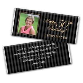 Birthday Personalized Chocolate Bar Formal Pinstripes Photo
