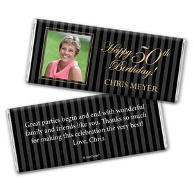 Birthday Personalized Chocolate Bar Wrappers Formal Pinstripes Photo