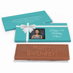 Deluxe Personalized Birthday Photo & Bow Chocolate Bar in Gift Box
