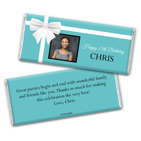 Birthday Personalized Chocolate Bar Wrappers Tiffany Style Bow Photo