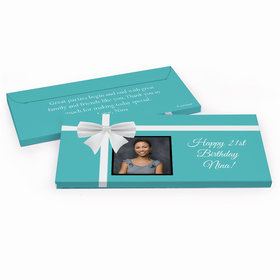 Deluxe Personalized Birthday Photo & Bow Hershey's Chocolate Bar in Gift Box