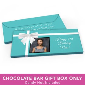 Deluxe Personalized Birthday Photo & Bow Candy Bar Favor Box