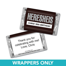 "Birthday Personalized Hershey's Miniatures Wrappers HERESHEIS ""Here She Is"""