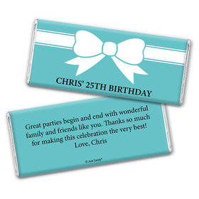 Birthday Personalized Chocolate Bar Wrappers Tiffany Style Bow