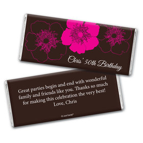 Birthday Personalized Chocolate Bar Wrappers Flower Trio