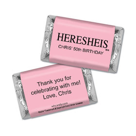"Birthday Personalized Hershey's Miniatures HERESHEIS ""Here She Is"" Pink"