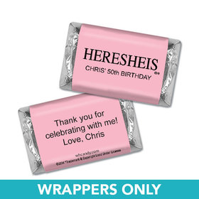 "Birthday Personalized Hershey's Miniatures Wrappers HERESHEIS ""Here She Is"" Pink"