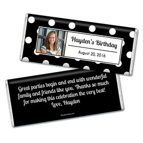 Birthday Personalized Chocolate Bar Polka Dot Photo
