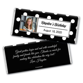 Birthday Personalized Chocolate Bar Wrappers Polka Dot Photo