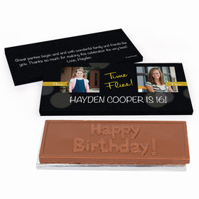 Deluxe Personalized Adult Birthday Time Flies Then & Now Photo Chocolate Bar in Gift Box