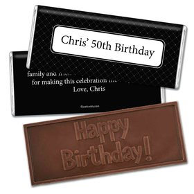 Birthday Personalized Embossed Chocolate Bar Dotted Criss Cross