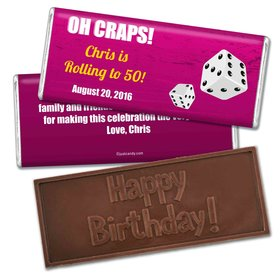 Birthday Personalized Embossed Chocolate Bar Casino Poker Dice Roll