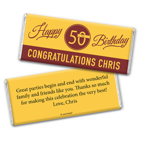 50th Birthday Personalized Chocolate Bar Wrappers Timeless Age Circle