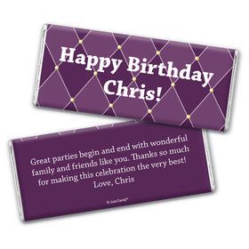 Birthday Personalized Chocolate Bar Wrappers Argyle