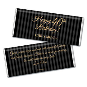 Milestones Personalized Chocolate Bar 40th Birthday Favors