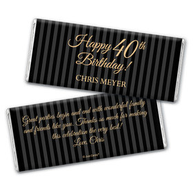 Milestones Personalized Chocolate Bar 40th Birthday Wrappers