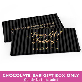 Deluxe Personalized Birthday 40th Candy Bar Favor Box