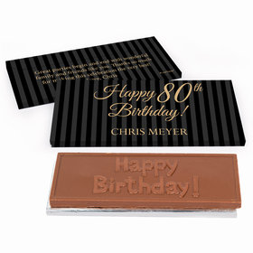 Deluxe Personalized Birthday Pinstripe 80th Chocolate Bar in Gift Box
