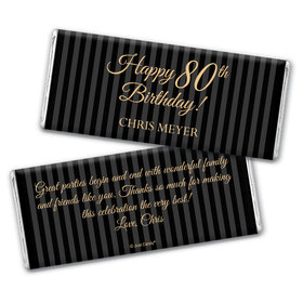 Milestones Personalized Chocolate Bar 80th Birthday Wrappers