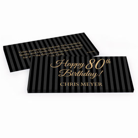 Deluxe Personalized Birthday Pinstripe 80th Hershey's Chocolate Bar in Gift Box