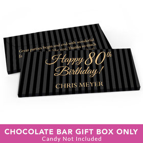 Deluxe Personalized Birthday Pinstripe 80th Candy Bar Favor Box