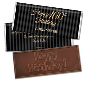 Milestones Personalized Embossed Chocolate Bar 100th Birthday Favors