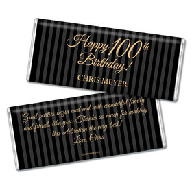 Milestones Personalized Chocolate Bar 100th Birthday Favors