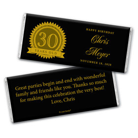 Milestones Personalized Chocolate Bar Candy 30th Birthday Wrappers