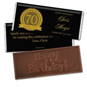 Milestones Personalized Embossed Chocolate Bar Candy 70th Birthday Favors
