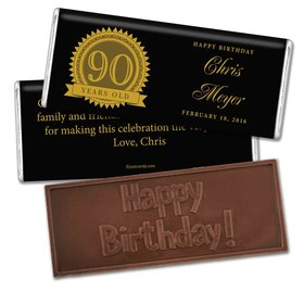 Milestones Personalized Embossed Chocolate Bar Candy 90th Birthday Favors