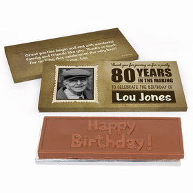 Deluxe Personalized Birthday 80th Chocolate Bar in Gift Box