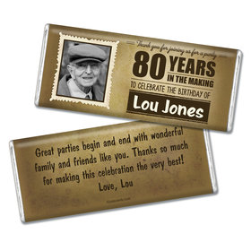 Milestones Personalized Chocolate Bar 80th Birthday