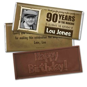 Milestones Personalized Embossed Chocolate Bar 90th Birthday