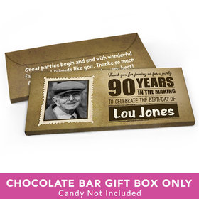 Deluxe Personalized Birthday 90th Candy Bar Favor Box