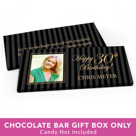 Deluxe Personalized Birthday Photo 30th Candy Bar Favor Box