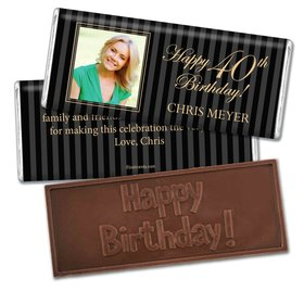 Milestones Personalized Embossed Chocolate Bar 40th Birthday