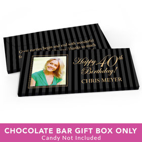 Deluxe Personalized Birthday Photo 40th Candy Bar Favor Box