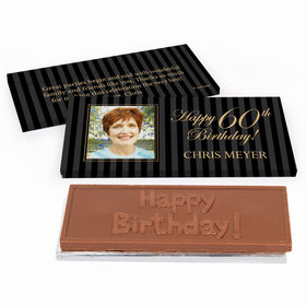 Deluxe Personalized Birthday Photo 60th Chocolate Bar in Gift Box