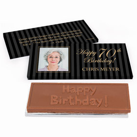 Deluxe Personalized Birthday Photo 70th Chocolate Bar in Gift Box