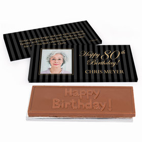 Deluxe Personalized Birthday Photo 80th Chocolate Bar in Gift Box
