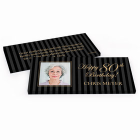 Deluxe Personalized Birthday Photo 80th Hershey's Chocolate Bar in Gift Box