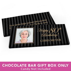 Deluxe Personalized Birthday Photo 80th Candy Bar Favor Box