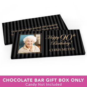 Deluxe Personalized Birthday Photo 90th Candy Bar Favor Box