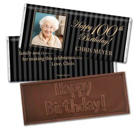 Milestones Personalized Embossed Chocolate Bar 100th Birthday