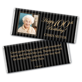 Milestones Personalized Chocolate Bar 100th Birthday Wrappers