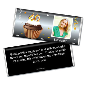 Personalized 40th Birthday Milestones Chocolate Bar & Wrapper