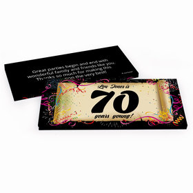 Deluxe Personalized Birthday 70th Confetti Birthday Hershey's Chocolate Bar in Gift Box