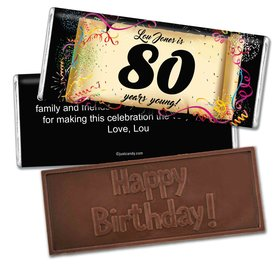 Milestones Personalized Embossed Chocolate Bar 80th Birthday Commemorate